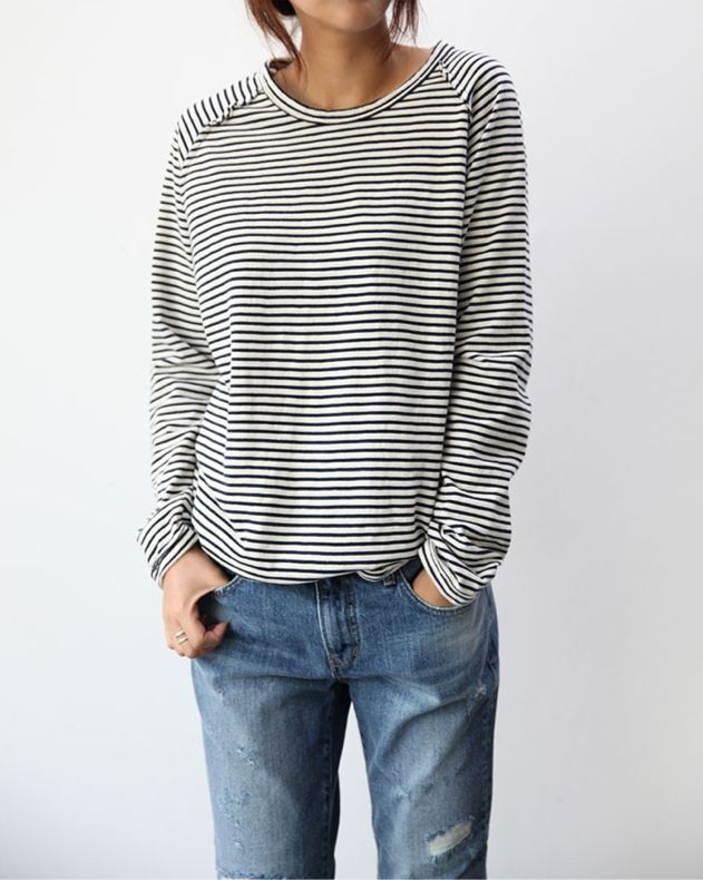 With stripe t-shirt