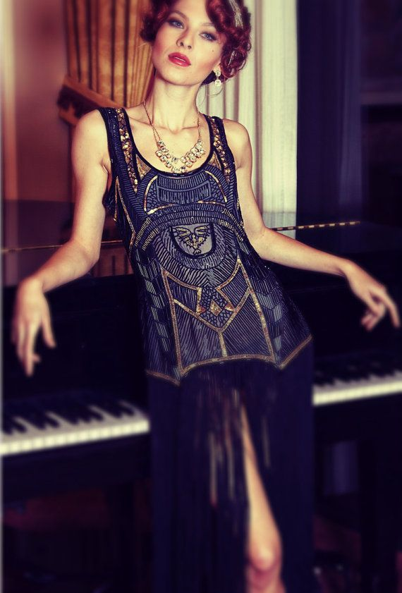 Black 1920's EGYPTIAN REVIVAL Beaded Flapper Gatsby Cocktail Dress by Deco Haus Hollywood