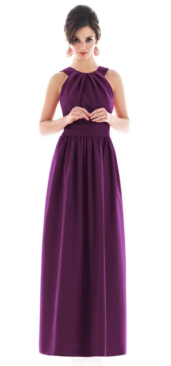 Long bridesmaid dress. Like the style as would go well with vintage theme but obvs not in purple!