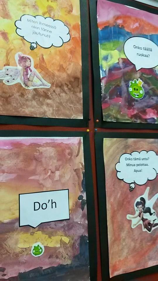 """Sarjakuvien parissa 3. luokkalaisten kanssa. Aiheena """"Eksyneet hahmot Ihmemaassa"""". Tausta on maalattu vesiväreillä ja vielä märkään kuvistyöhön on tiputettu sitruunamehua, mikä on saanut värin leviämään. Lopuksi liimattiin tarrat ja Wordissa kirjoitetut puhekuplat. Oppilaan sanoin: """"Nää on aika päheitä!"""" (Alakoulun aarreaitta FB -sivustosta / Noora Kaartti)"""