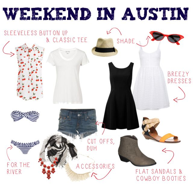 What to pack :: Weekend roadtrip to Austin, TX. I live in Texas, and I know this works for the majority of Texas. Especially in summer, but not limited to.