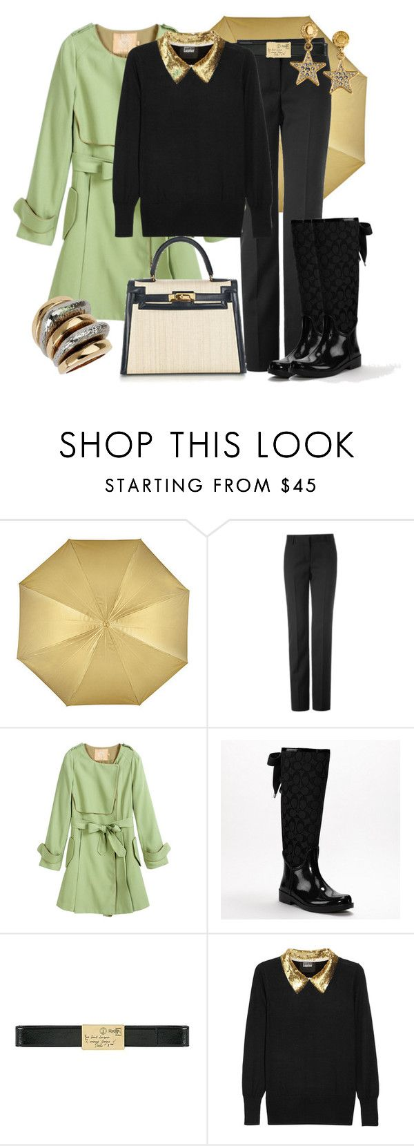 """""""DÍAS DE LLUVIA"""" by outfits-de-moda2 ❤ liked on Polyvore featuring Narciso Rodriguez, Coach, Yves Saint Laurent, Markus Lupfer, Hermès and Topshop"""