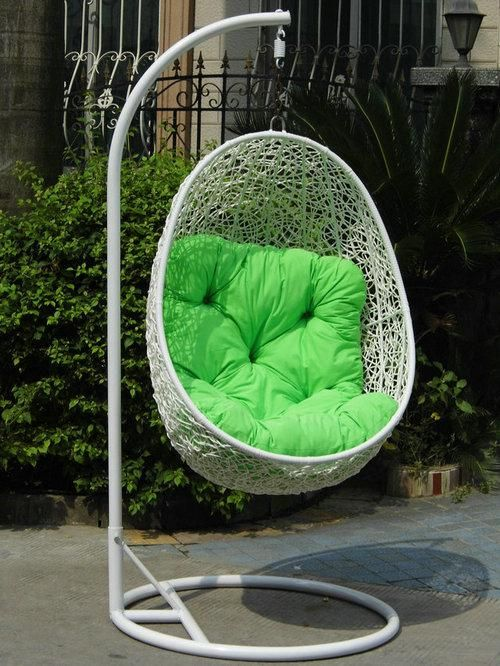 Steel Rattan Hanging Chair,Egg Shape Size:120*80*58cm Ground