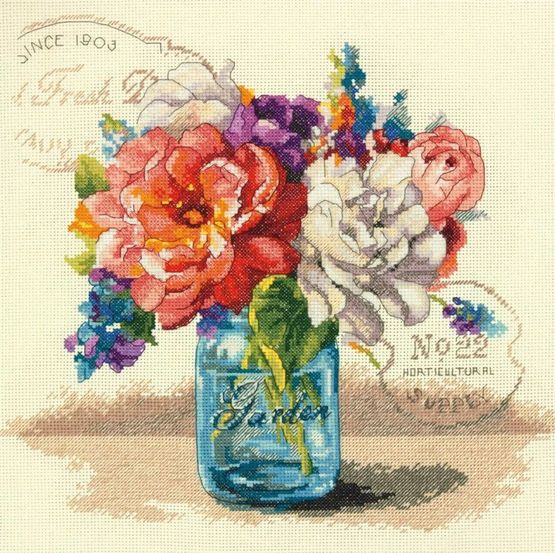 Make those summery blooms last all year round with this Garden Bouquet cross stitch kit from Dimensions.