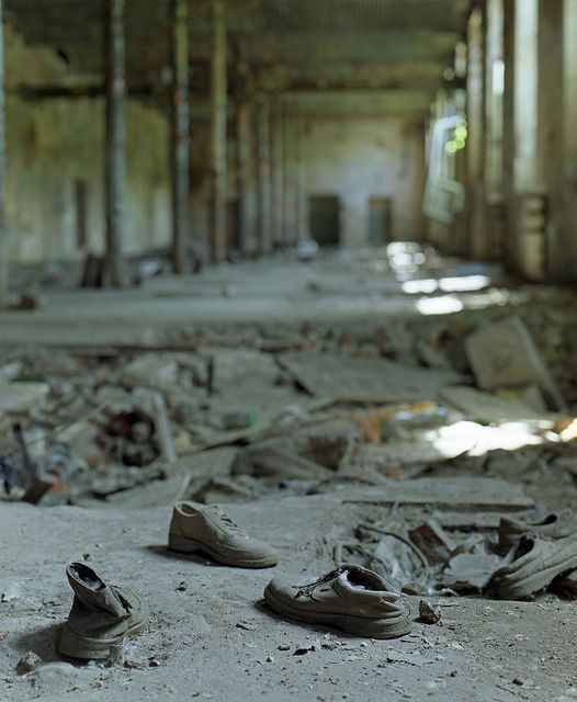 The shoes in the abandoned Dietl spinning mill, Sosnowiec, Poland. by wojszyca, via Flickr
