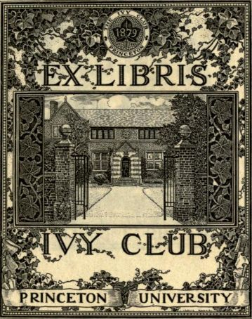 Ex libris Ivy Club Princeton University 1879. Louis John Rhead. (1857–1926). California Digital Library > A collection of book plate designs