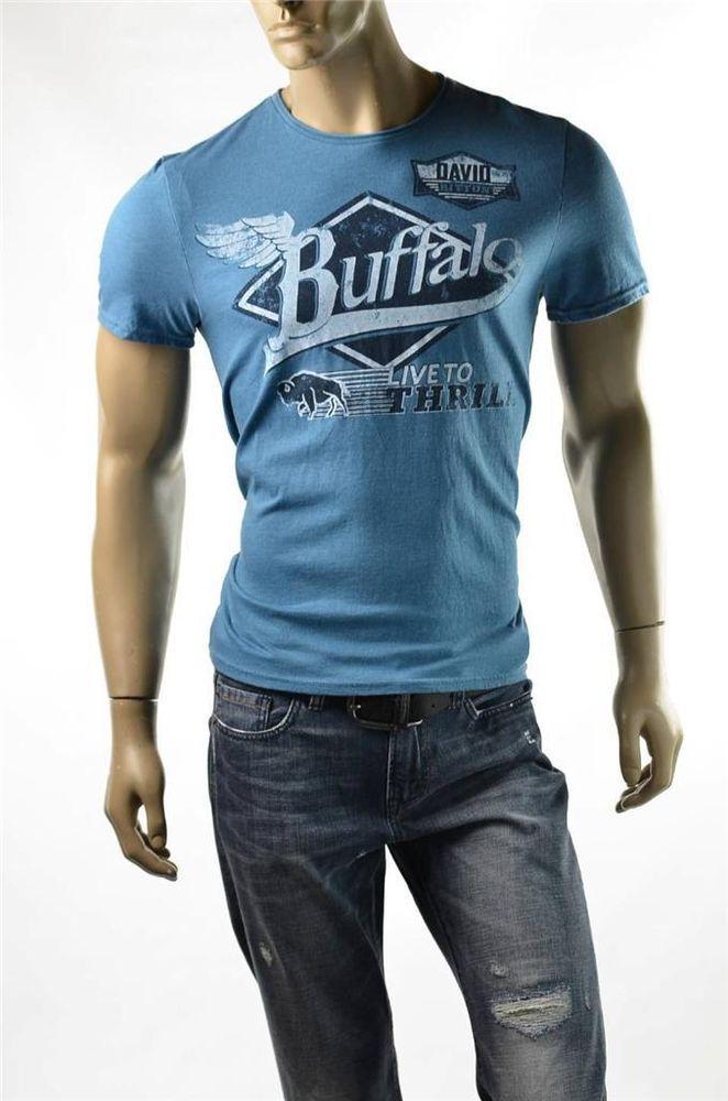 Buffalo T-shirt David Bitton Crew Blue NAKIR Classic Graphic T Shirts Sz S NWT #BuffaloDavidBitton #GraphicTee