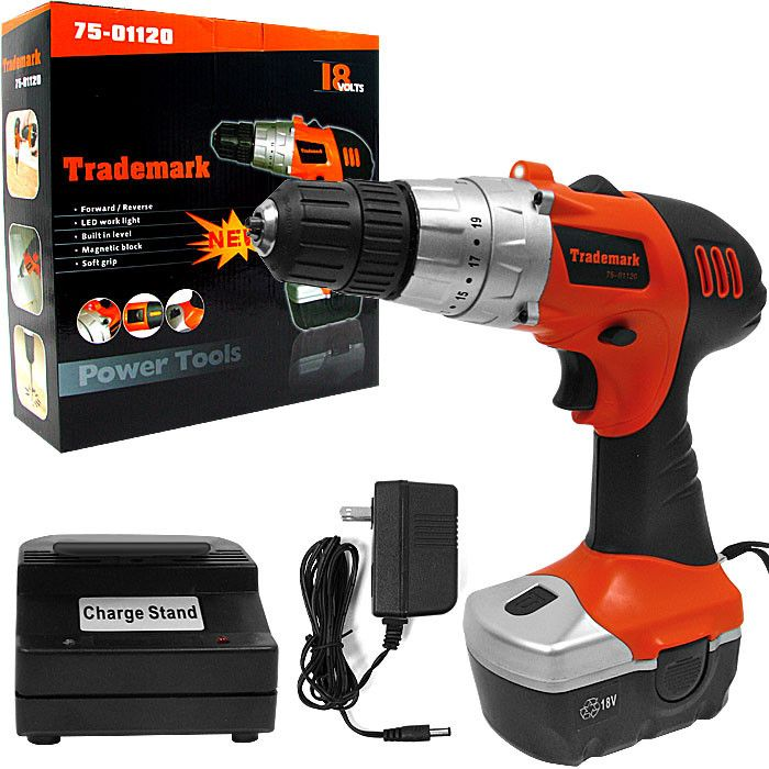 Trademark Commerce 75-01120 Trademark Tools 18V Cordless Drill w/ LED Light and extras