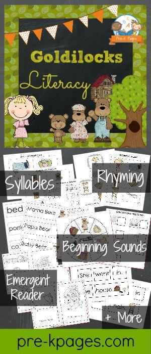 Printable Goldilocks Literacy Activities for #preschool and #kindergarten
