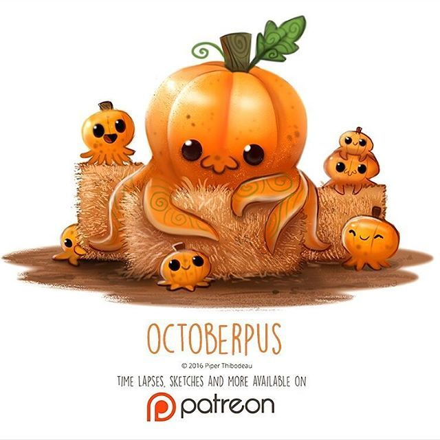 Daily Paint 1414. Octoberpus by Piper Thibodeau
