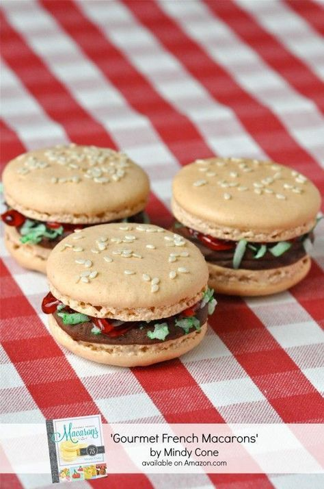 Burger macarons - how creative! I wonder what they taste like.. #french #macarons #burgers via birdsparty