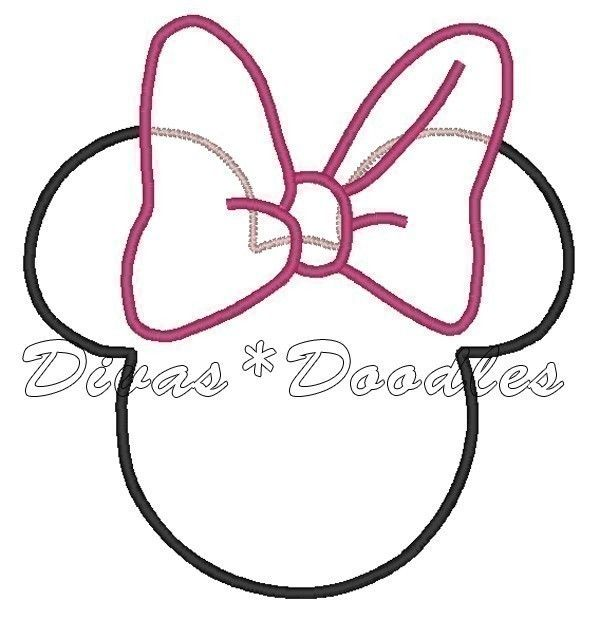 Minnie dress silhouette clipart diy crafts pinterest for Free printable minnie mouse bow template