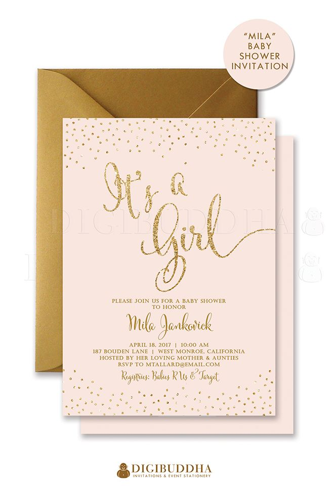 Blush pink and gold glitter sparkle baby shower invitations for a baby girl shower. Gold glitter lettering shower invitations. Gold shimmer envelopes also available, at amazon.com/handmade/digibuddha
