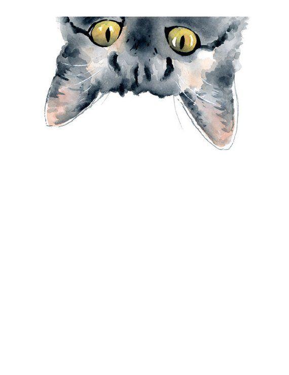 Sneaky Tabby Cat – Lámina – Decoración de la pared – Pintura de acuarela