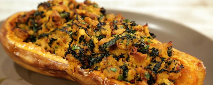 Stuffed Butternut Squash with Chicken Sausage and Kale Recipe | The Chew - ABC.com