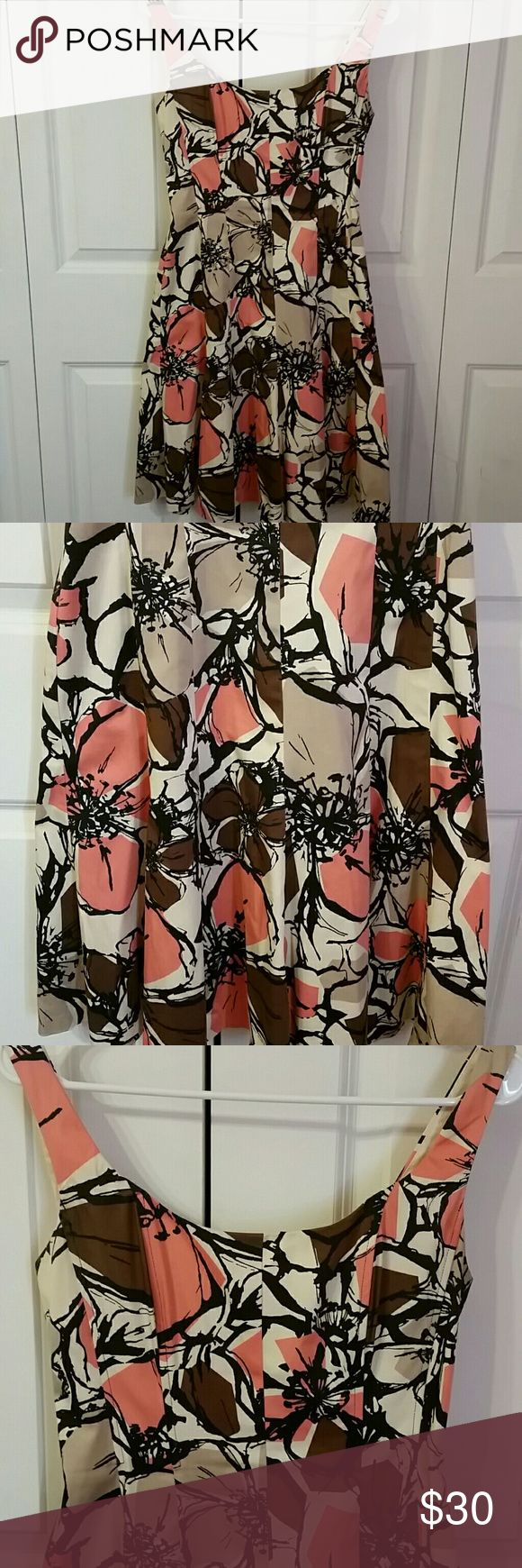 Oh SUNNY DAYS! Perfect Spring and Summer time sundress,  Awesome shades of coral, browns and cream,  beautifully designed and made. Lined so it is NOT SEE THROUGH! BRAND NEW WITHOUT TAG Nine West Dresses