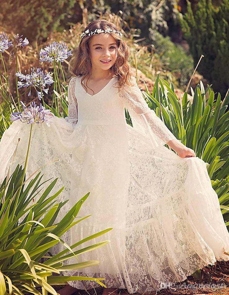 2017 new beach flower girl dresses white ivory boho first
