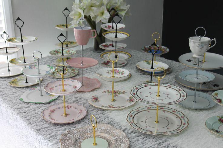 VINTAGE CAKE STANDS HIGH TEA PLATES & CUPS  #RoyalAlbertRoyalValeTuscanStandard