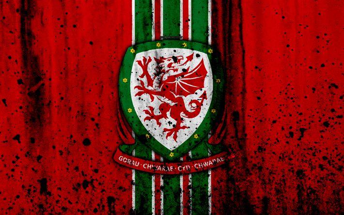 Download wallpapers Wales national football team, 4k, logo, grunge, Europe, football, stone texture, soccer, Wales, European national teams