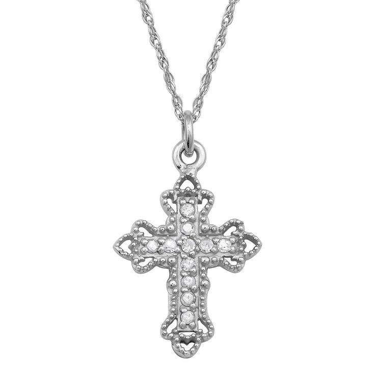 Viducci 10k White Gold Vintage Style 1/8ct Diamond Cross Necklace
