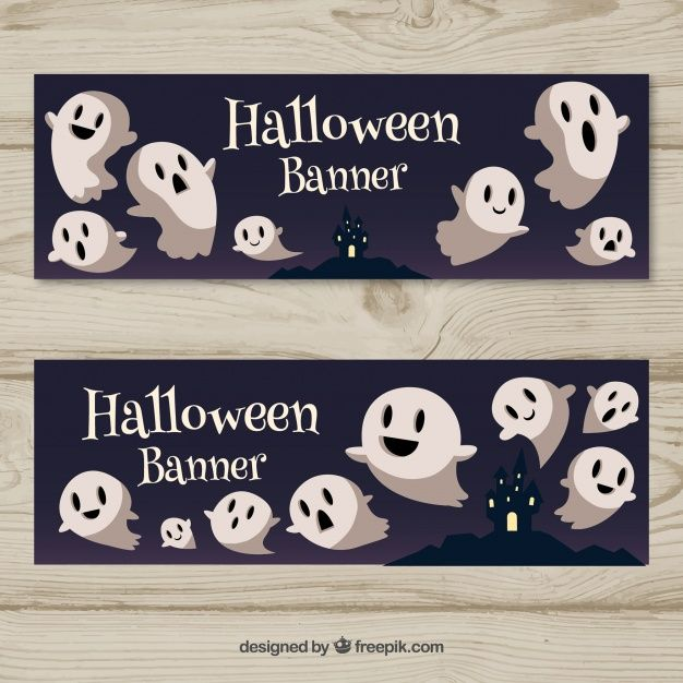 Halloween banners with funny ghosts Free Vector