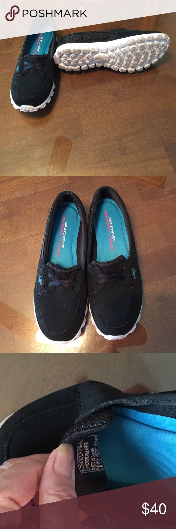 Skechers Slip-Ons, black with Memory Foam Black Skechers Slip-Ons with Memory Foam, size 8, New & only worn in the store, very clean Skechers Shoes Sneakers