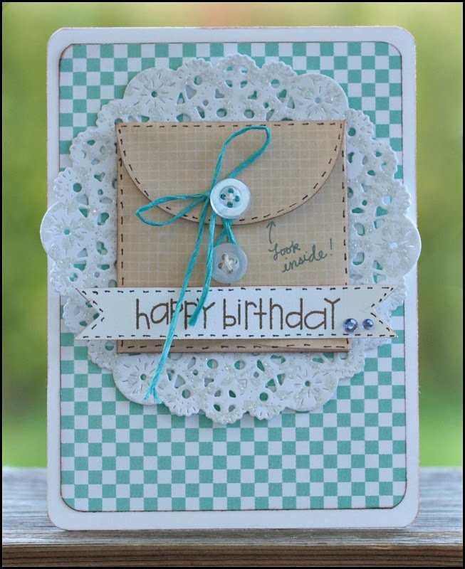 Great use of a doiley. Can use the Stampin Up scalloped envelope here too! Carinas scrapblog