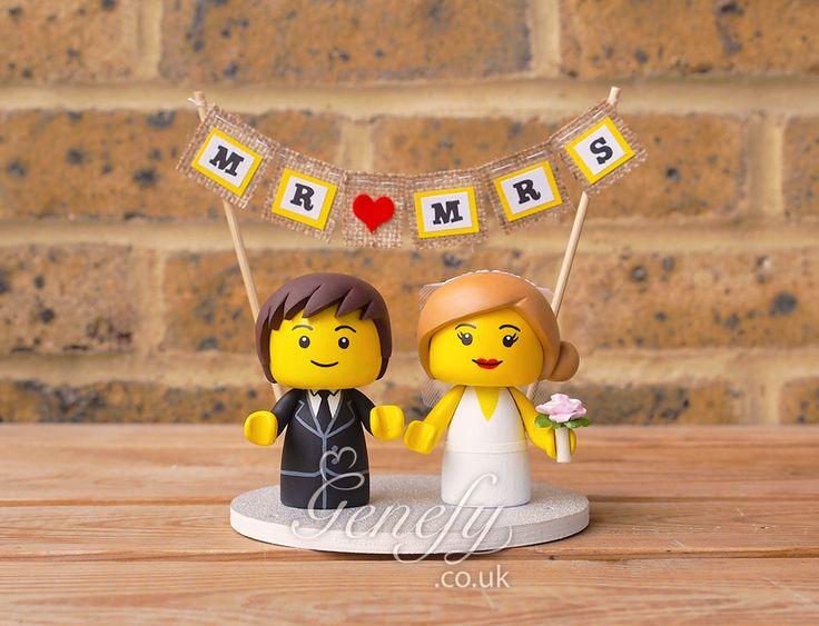 Lego man Lego bride and groom wedding cake topper by GenefyPlayground  https://www.facebook.com/genefyplayground
