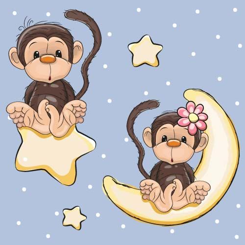 Cute monkey with stars and moon card vector