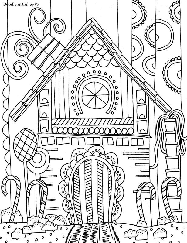 Gingerbread House Coloring Page Doodle Art Alley Inspire