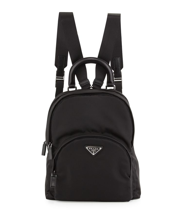 Nylon+Medium+Dome+Backpack,+Black+(Nero)+by+Prada+at+Neiman+Marcus.