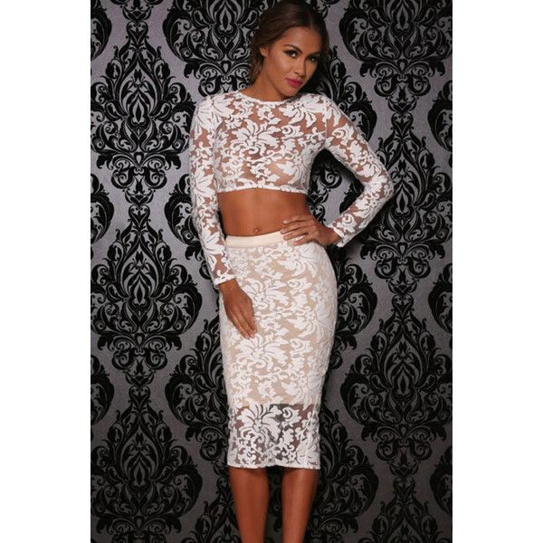White Lace Long Sleeves Back Slit Bodycon 2pc Dress (135 BRL) ❤ liked on Polyvore featuring dresses, white, lace bodycon dress, lace body con dress, lacy dress, white day dress und white bodycon dress