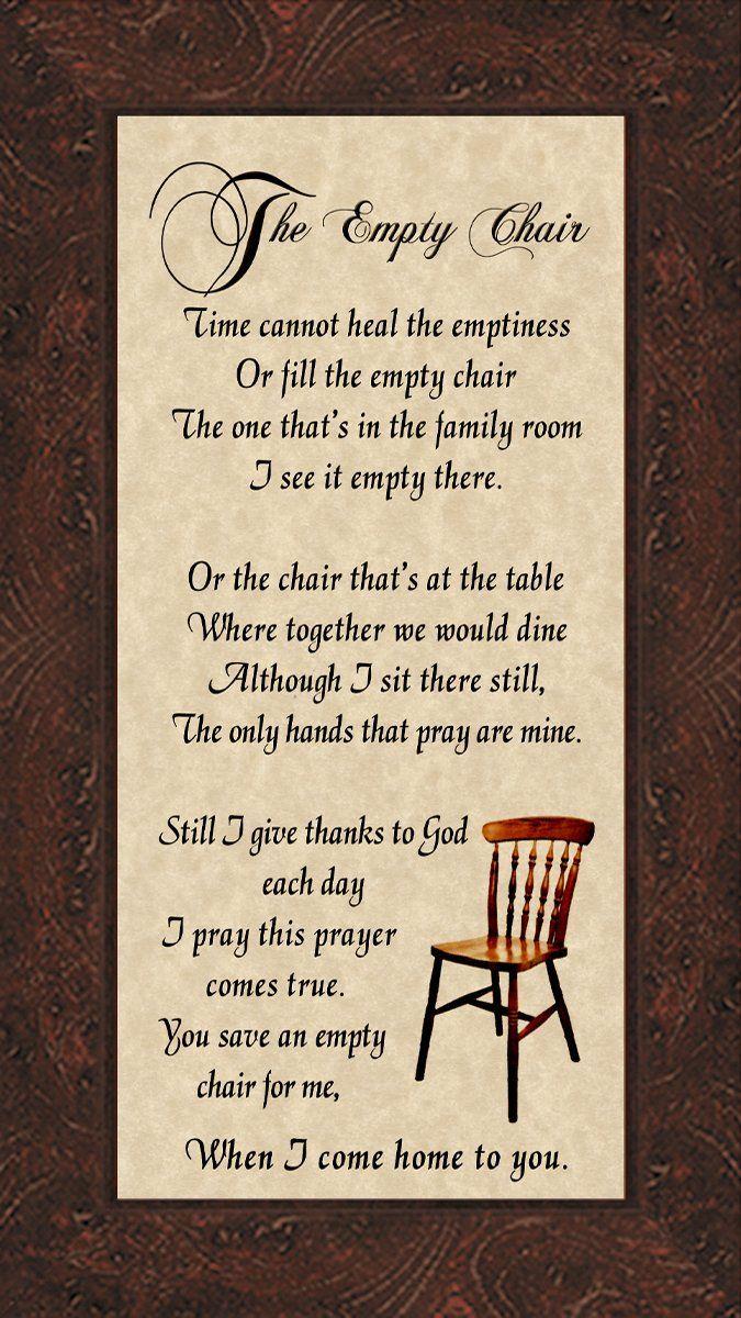 Amazon.com: The Empty Chair Memorial Bereavement Poem ...