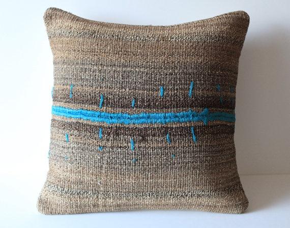 striped vintage tribal turkish kilim pillow cover.