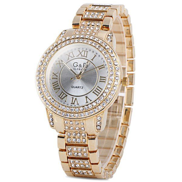 Fashionable Design Quartz Watch with Diamonds And Stainless Steel Watch Band