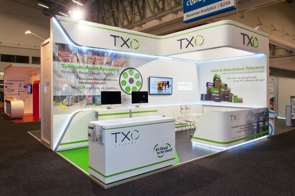Full custom 6m x 3m booth for txo systems at africacom for Kitchen design 6m x 3m