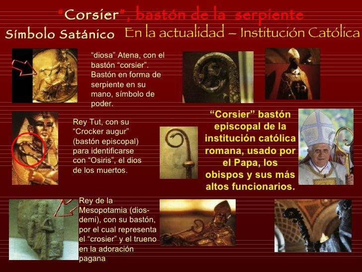 """Símbolo Satánico En la actualidad – Institución Católica """" Corsier """", bastón de la  serpiente """" diosa"""" Atena, con el bastó..."""