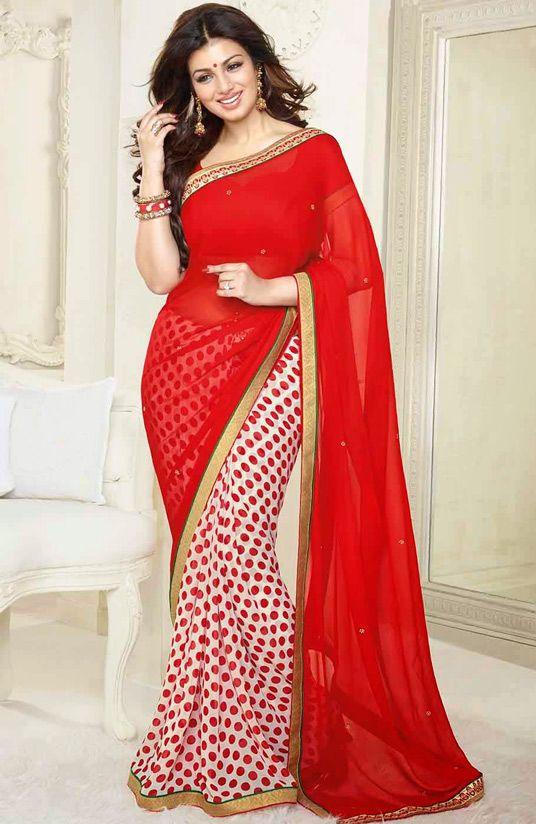 USD 25.45 Ayesha Takia Red Georgette Party Wear Saree 44554