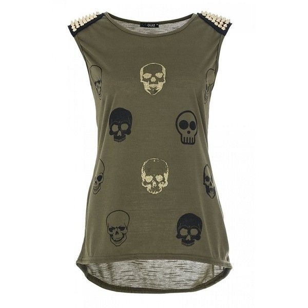 Khaki Gold Stud Skull Top ($24) ❤ liked on Polyvore