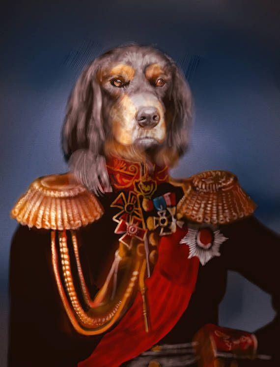 Digital, Сustom животное портрет, Королевский костюм домашнее животное портрет, портрет собаки, изготовленный на заказ Vintage Regal Pet портрет, изготовленный на заказ портрет, печать, Смешной