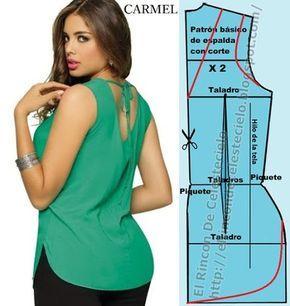 Blusa manga sisa escote en V sobre corte en el centro de la espalda con abertura curva en el largo y el patrón