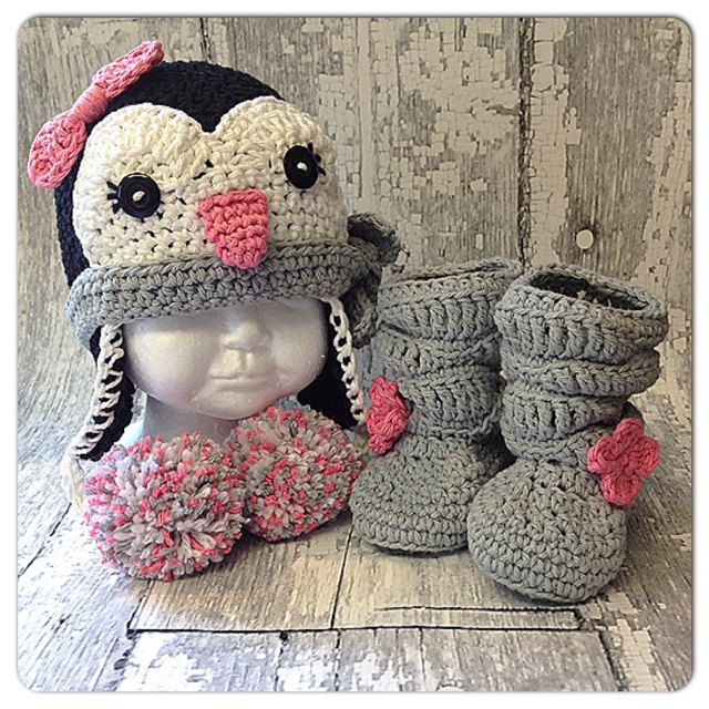 READY TO SHIP - Crochet Penguin hat, lined, baby slouch boots, size 12-24 months by WoolyKnitsandCrochet on Etsy