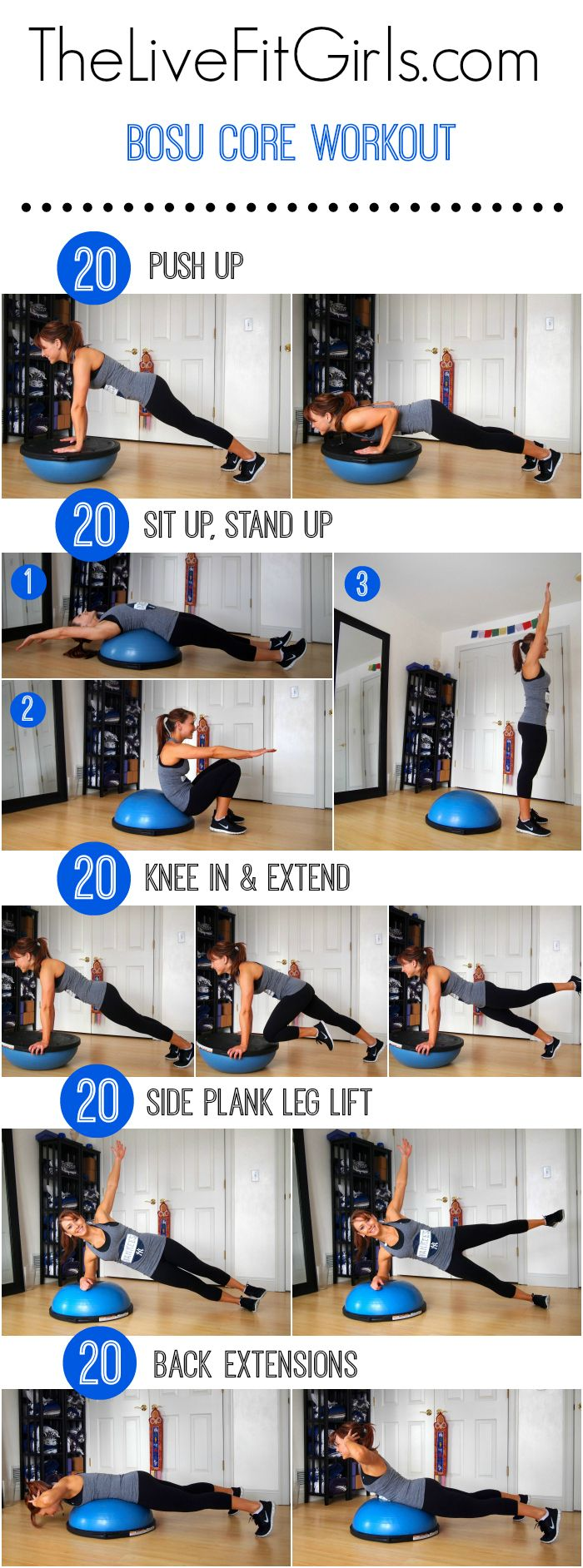 An abs and back workout using the bosu! Bosu Core Workout