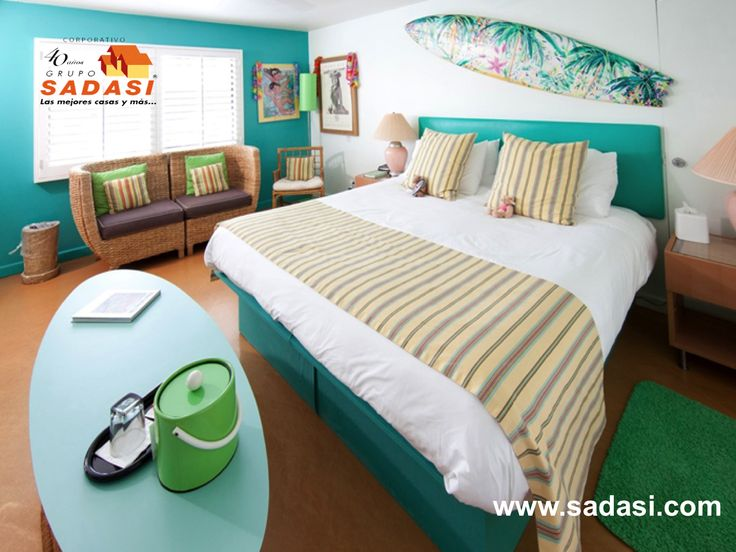 #conjuntoshabitacionales LAS MEJORES CASAS DE MÉXICO. Utilizar el verde azulado en algunas recámaras de su casa, proporciona mayor iluminación a estos espacios. Este tipo de azul con toques verdosos en las paredes, combina a la perfección con el beige, el malva o el color palo de rosa. Le invitamos a conocer los desarrollos que GRUPO SADASI tenemos para usted en 14 estados del país. http://www.sadasi.com