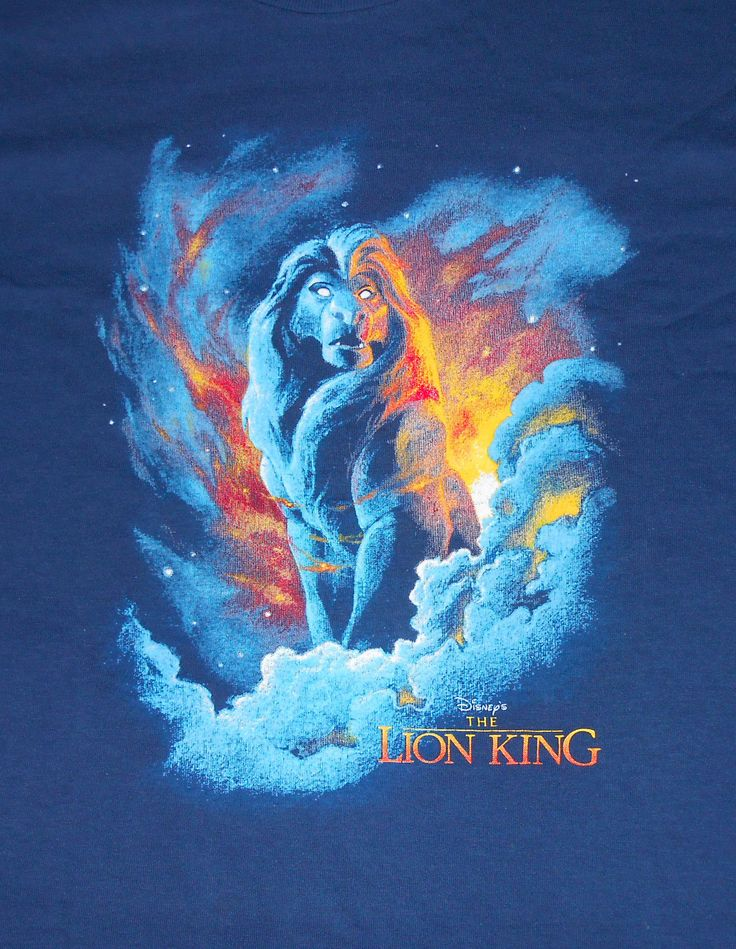 VTG 90s Lion King Navy Blue T Shirt -Mufasa Ghost/Clouds- Made USA - Medium -NWT