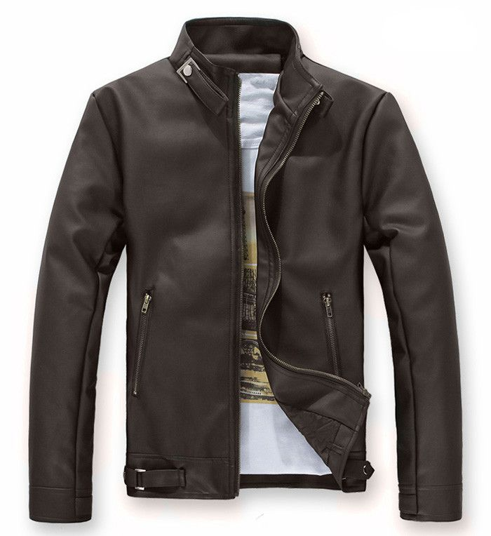 Stylish Solid Color Stand Collar Zipper Embellished Long Sleeves PU Leather Coat For Men