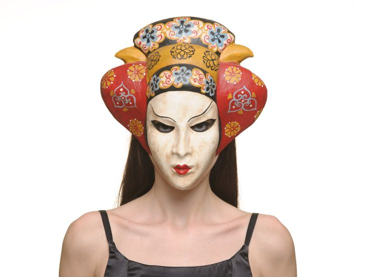 """http://www.miofidelio.com/sito/en__p__37__geisha_.html Geisha Refined essence of eroticism and seduction: this mask will transform you into a real Geisha.  This mask is entirely handmade, using the techniques of the """"mascareri"""" of the 15th century. The decorations are made ??with natural pigments."""