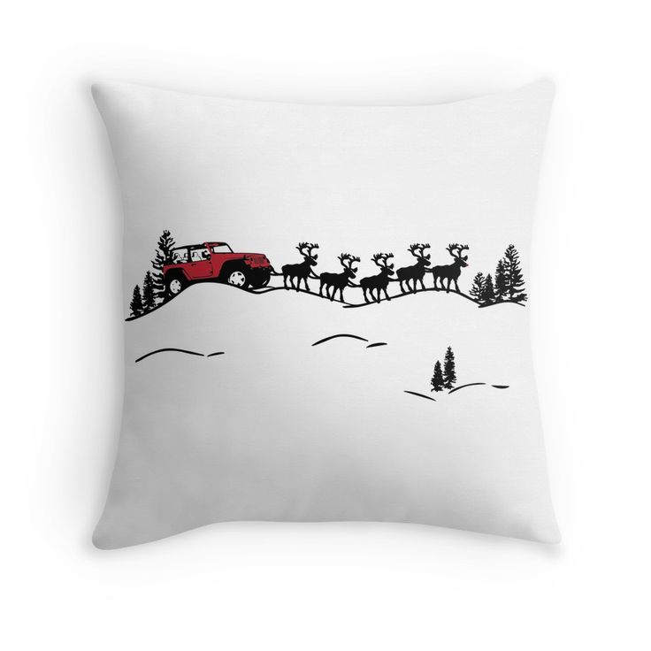 Santa Drives A Jeep pillow available @redbubble.com/jeepstyleteestees image can also be mugs, shirts,etc.