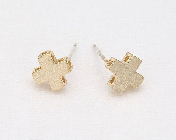 Adorable gold cross stud earrings by Bungalow 9