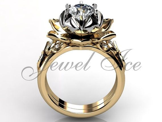 14k two tone yellow and white gold diamond unusual lotus flower engagement ring, bridal set, wedding ring, flower engagement set, anniversary ring by Jewelice